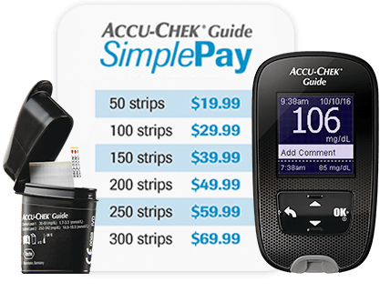 Accu-Chek Guide blood glucose meter and vial next to Accu-Chek Guide SimplePay pricing grid