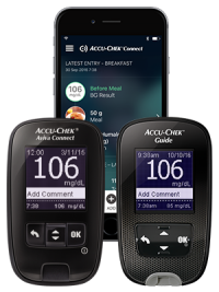 Accu-Chek Aviva Connect and Accu-Chek Guide meters with an iPhone showing the Accu-Chek Connect ap
