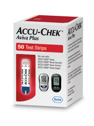 Fifty count box of Accu-Chek Aviva Plus blood glucose test strips