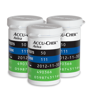 Three Accu-Chek Aviva Plus blood glucose test strip vials