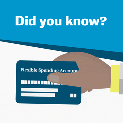 "Animated hand holding flexible spending account card with the text ""Did you know?"" hovering overhead"