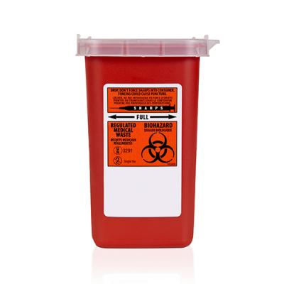 Plastic red Sharps disposal container