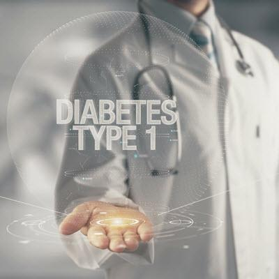 Futuristic Diabetes Type 1 text hovering above a physician's open palm