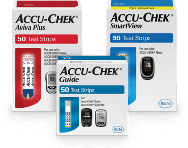 Accu-Chek Aviva Plus test strips, Accu-Chek Guide test strips, and Accu-Chek SmartView test strips